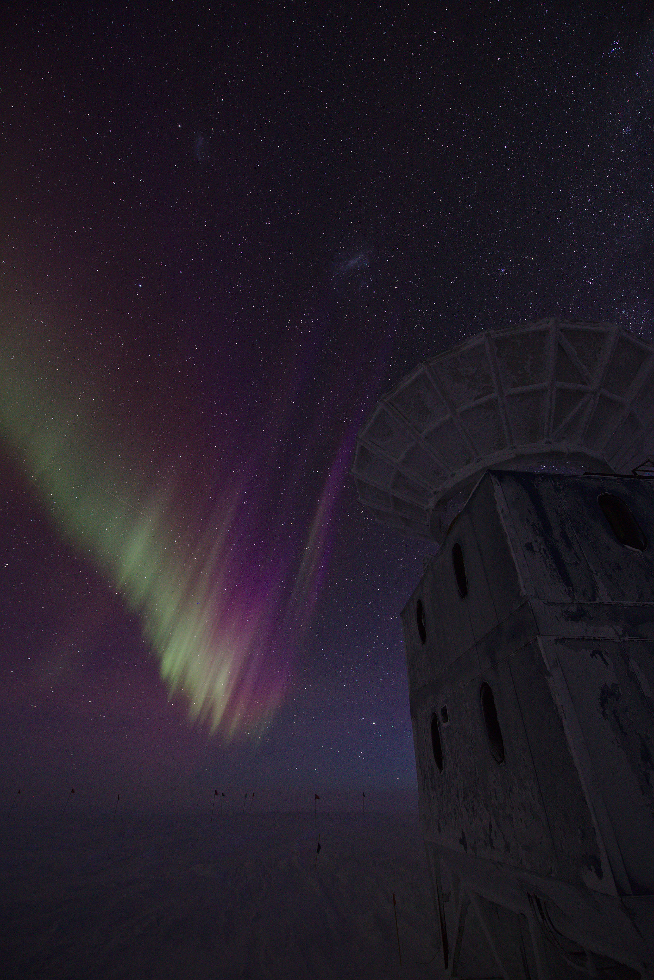 The BICEP telescope ground shield below the starry skies
