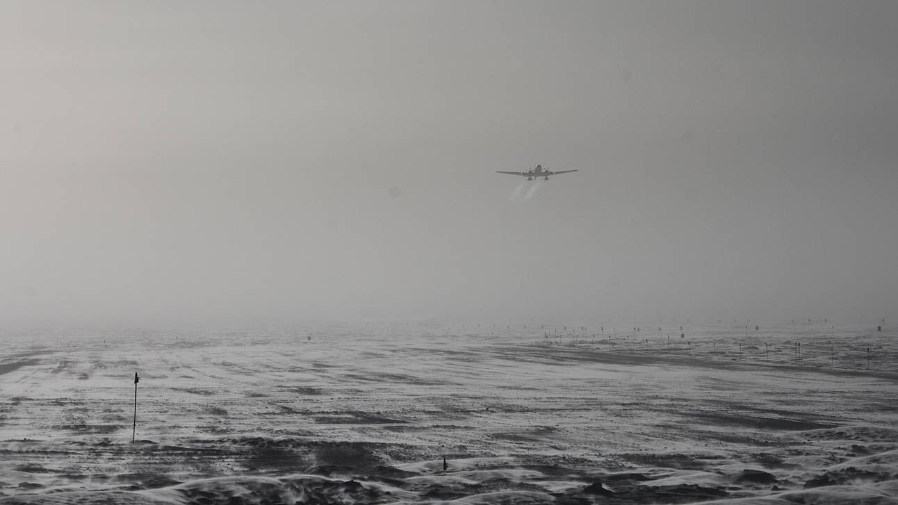 The Basler taking off the south pole runway.
