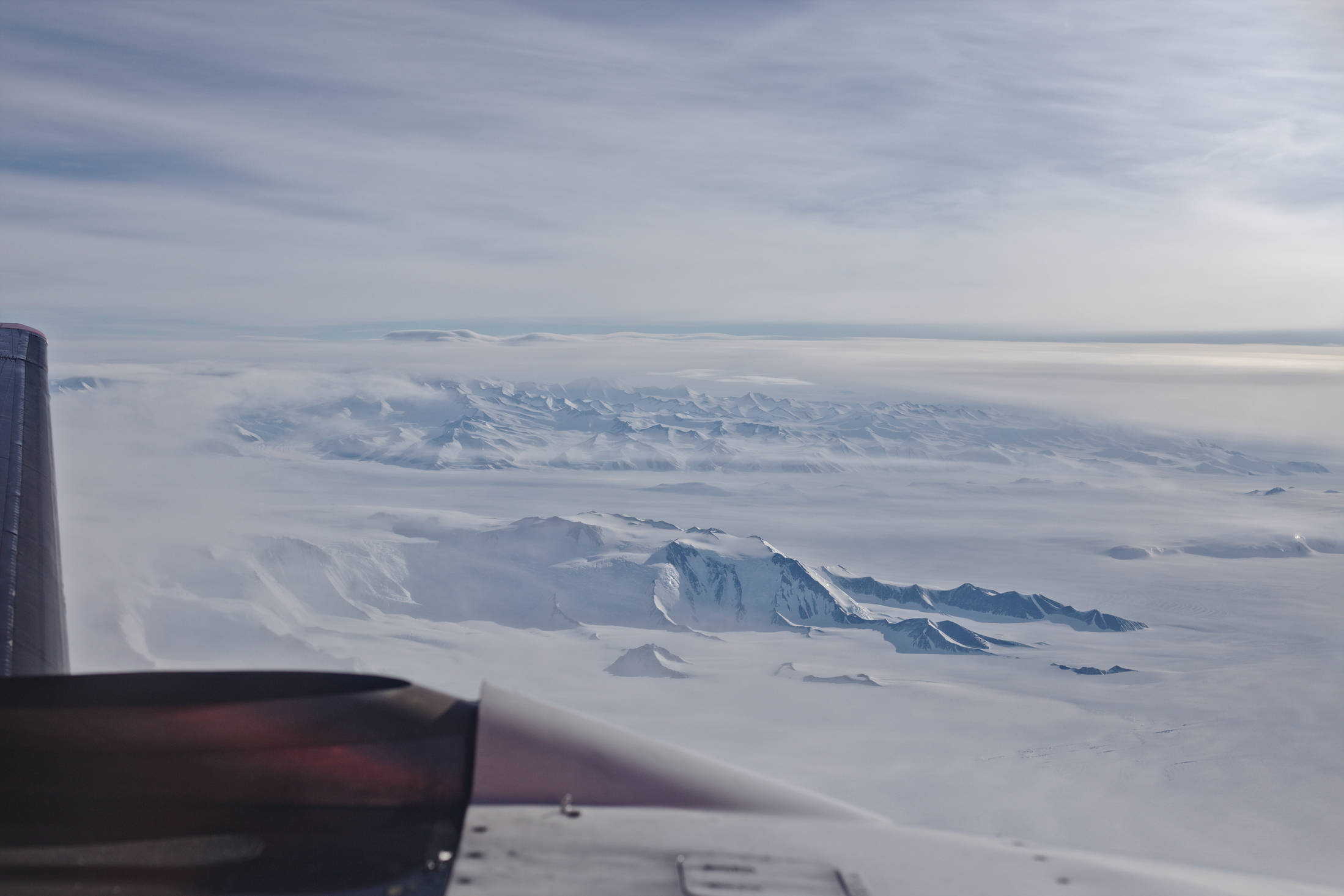 From here it's another two hours of flying across the Ross ice shelf. More mountains are visible along the way