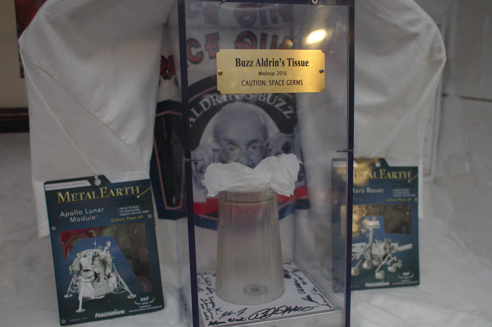 Some of the 2016/2017 summer crew set up a shrine commemorating the visit of Buzz Aldrin to south pole station, humorously displaying a tissue and a cup used by the former astronaut.