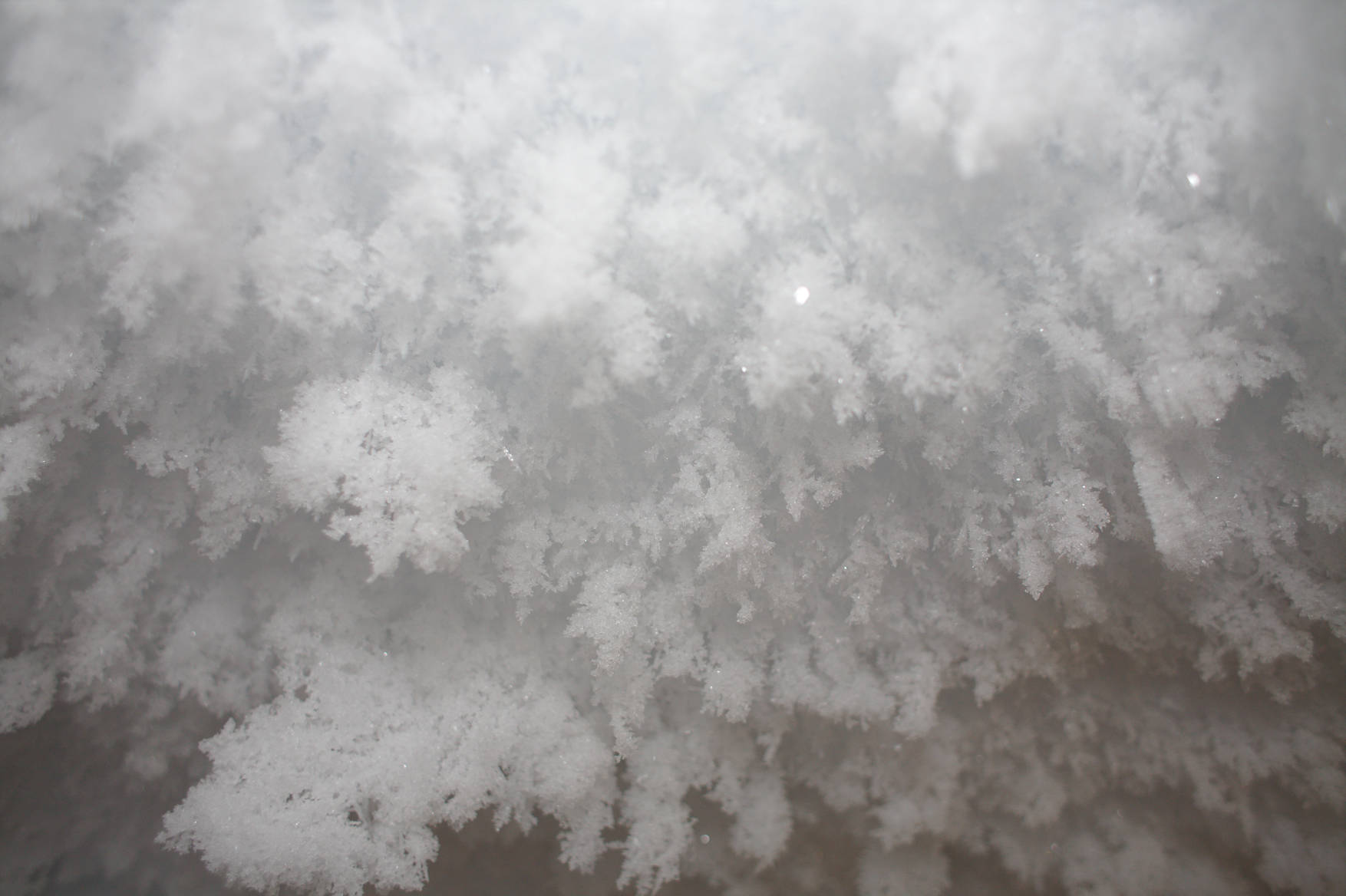 Beautiful ice crystals decorate the ceiling in some places